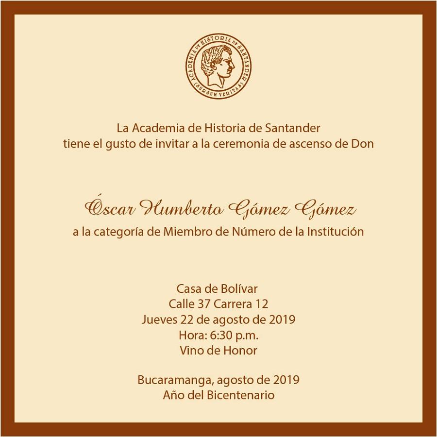 Invitación A Ceremonia De Ascenso Academia De Historia De